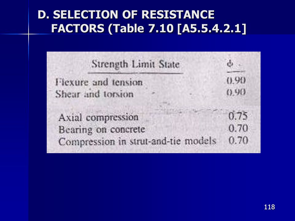 D. SELECTION OF RESISTANCE FACTORS (Table 7.10 [A5.5.4.2.1]